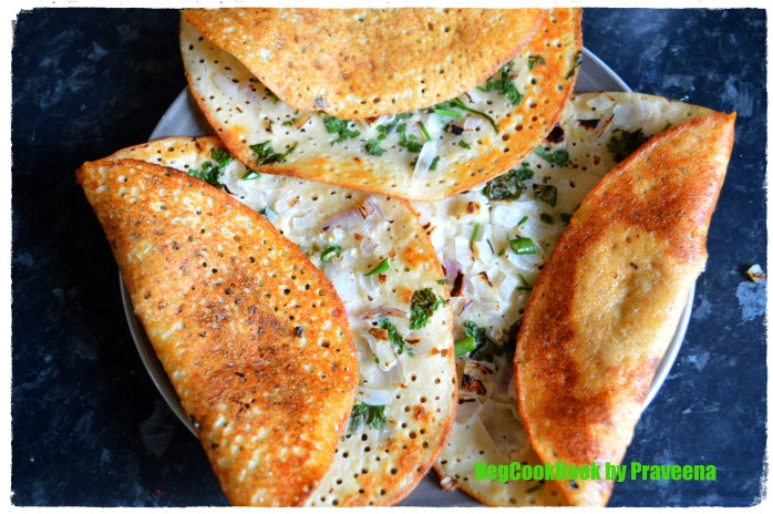 Tri-Dal Uthappam / Tri-Lentil Savoury Pancakes with crispy outer edges
