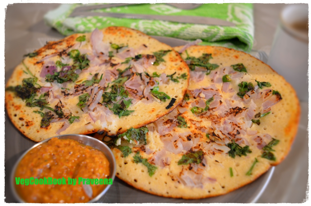 Perfectly cooked uthappams / savoury pancakes with crispy outer edges